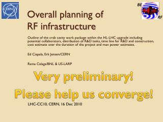 Overall planning of RF infrastructure