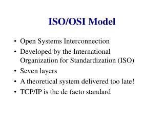 ISO/OSI Model