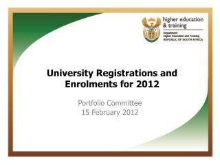 Portfolio Committee  15 February 2012