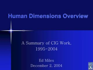 Human Dimensions Overview
