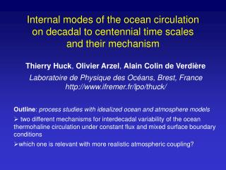 Internal modes of the ocean circulation  on decadal to centennial time scales  and their mechanism