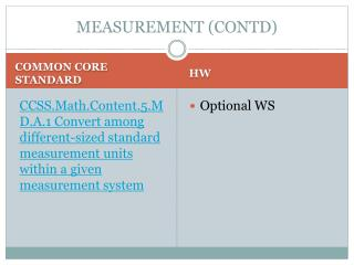 MEASUREMENT (CONTD)