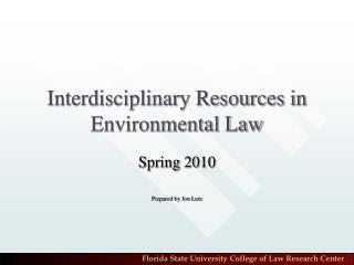 Interdisciplinary Resources in Environmental Law