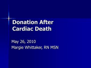 Donation After  Cardiac Death
