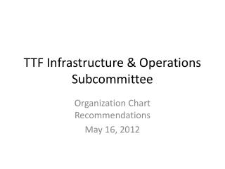 TTF Infrastructure & Operations Subcommittee