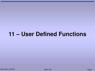 11 – User Defined Functions