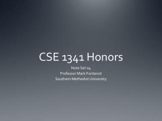 CSE 1341 Honors