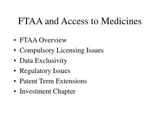 FTAA and Access to Medicines