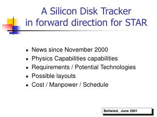 A Silicon Disk Tracker                        in forward direction for STAR