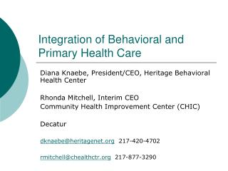 Integration of Behavioral and Primary Health Care