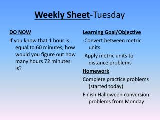 Weekly Sheet -Tuesday