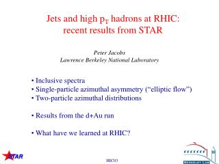 Jets and high p T  hadrons at RHIC: recent results from STAR
