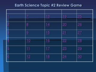 Earth Science Topic #2 Review Game