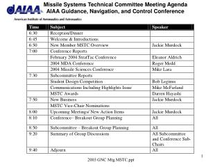 Missile Systems Technical Committee (MSTC) Overview