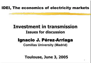 IDEI, The economics of electricity markets