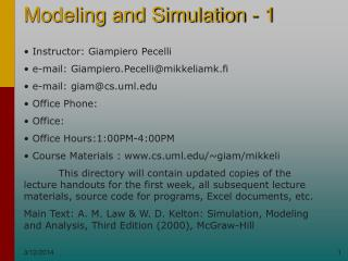 Modeling and Simulation - 1