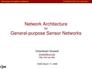 Network Architecture for General-purpose Sensor Networks