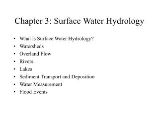 Chapter 3: Surface Water Hydrology