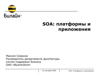 SOA:  платформы и приложения