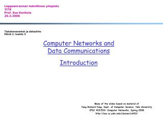 Computer Networks and  Data Communications Introduction