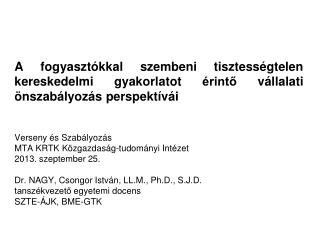 Verseny és Szabályozás MTA KRTK Közgazdaság-tudományi Intézet 2013. szeptember 25.