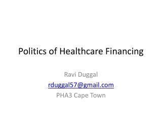 Politics of Healthcare Financing
