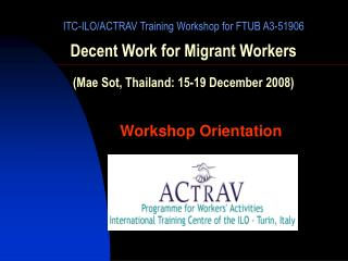 Workshop Orientation