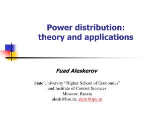 Power distribution:  theory and applications
