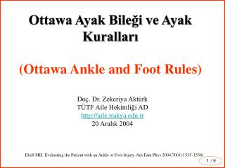 Ottawa Ayak Bilegi ve Ayak Kurallari  Ottawa Ankle and Foot Rules