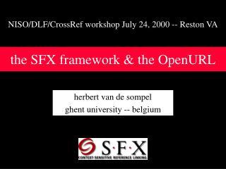 the SFX framework & the OpenURL