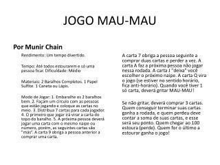 JOGO MAU-MAU