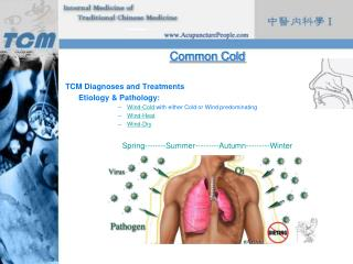 Common Cold TCM Diagnoses and Treatments 	Etiology & Pathology:
