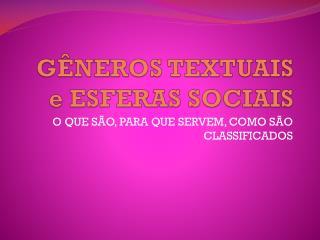 GÊNEROS TEXTUAIS e ESFERAS SOCIAIS