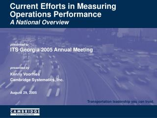 Current Efforts in Measuring Operations Performance