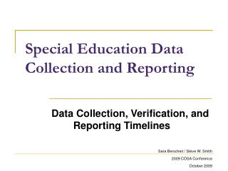 Special Education Data Collection and Reporting