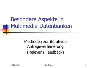 Besondere Aspekte in Multimedia-Datenbanken