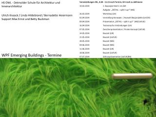 WPF Emerging Buildings - Termine