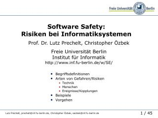 Software Safety:  Risiken bei Informatiksystemen