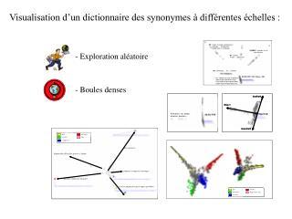 Visualisation d'un dictionnaire des synonymes à différentes échelles :