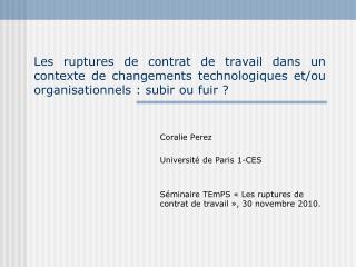 Coralie Perez Université de Paris 1-CES