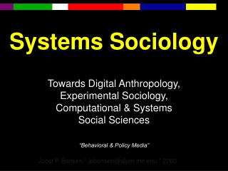 Systems Sociology
