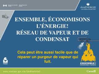 ENSEMBLE, ÉCONOMISONS L'ÉNERGIE! RÉSEAU DE VAPEUR ET DE  CONDENSAT