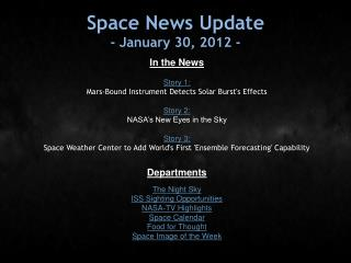 Space News Update - January 30, 2012 -