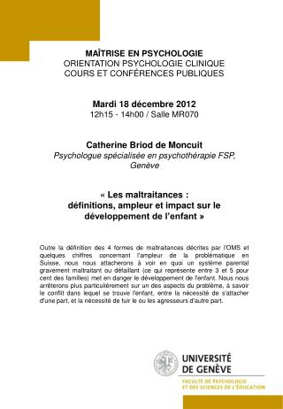 MAÎTRISE EN PSYCHOLOGIE ORIENTATION PSYCHOLOGIE CLINIQUE COURS ET CONFÉRENCES PUBLIQUES