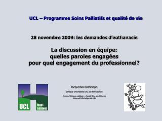 UCL – Programme Soins Palliatifs et qualité de vie