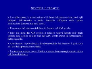 NICOTINA  E  TABACCO