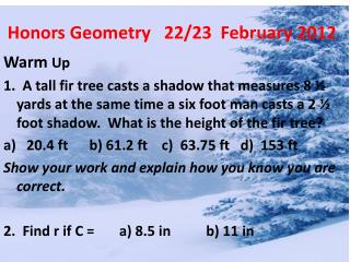 Honors Geometry   22/23  February 2012