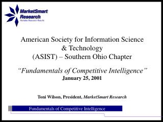 American Society for Information Science  & Technology  (ASIST) – Southern Ohio Chapter
