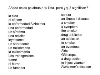 A ñade estas palabras a tu lista- pero ¿qué significan? la sida el cáncer la enfermedad Alzheimer