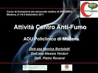 Attività Centro Anti-Fumo     AOU Policlinico di Modena    Dott.ssa Monica  Bortolotti